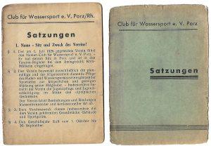 Erste Satzung des Clubs